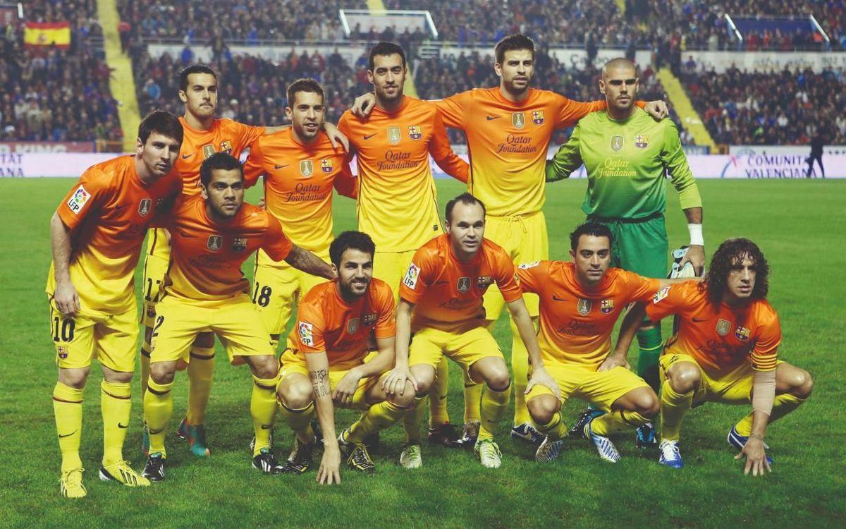 Once del FC Barcelona en el campo del Levante, en la temporada 2012/13, día en el que hubo once jugadores de casa a la vez sobre el césped.