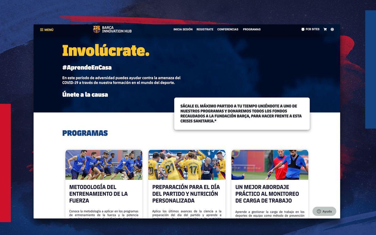 El Barça Innovation Hub pone en marcha cursos online para recaudar fondos para la lucha contra el Covid-19