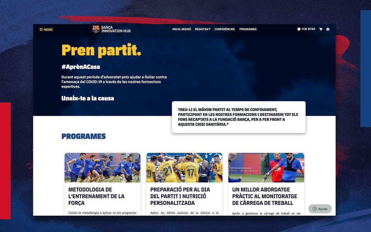 El Barça Innovation Hub posa en marxa cursos en línia per recaptar fons per a la lluita contra el Covid-19