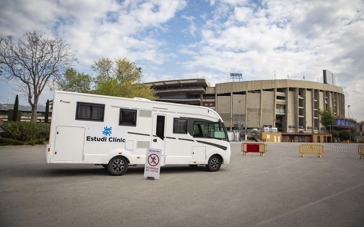 El Camp Nou acoge un punto de recogida de muestras para un estudio de prevención de nuevos contagios de Covid-19