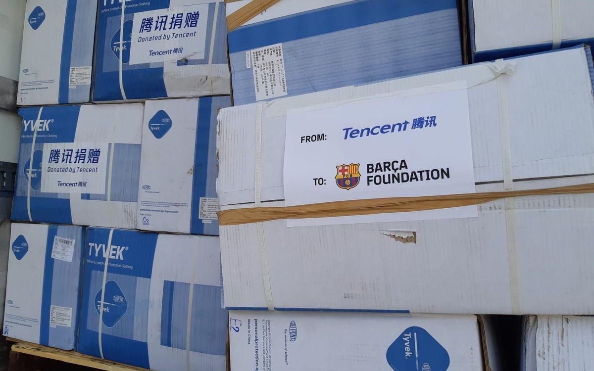 La Fundación Barça gestiona una importante donación de material sanitario del gigante tecnológico Tencent