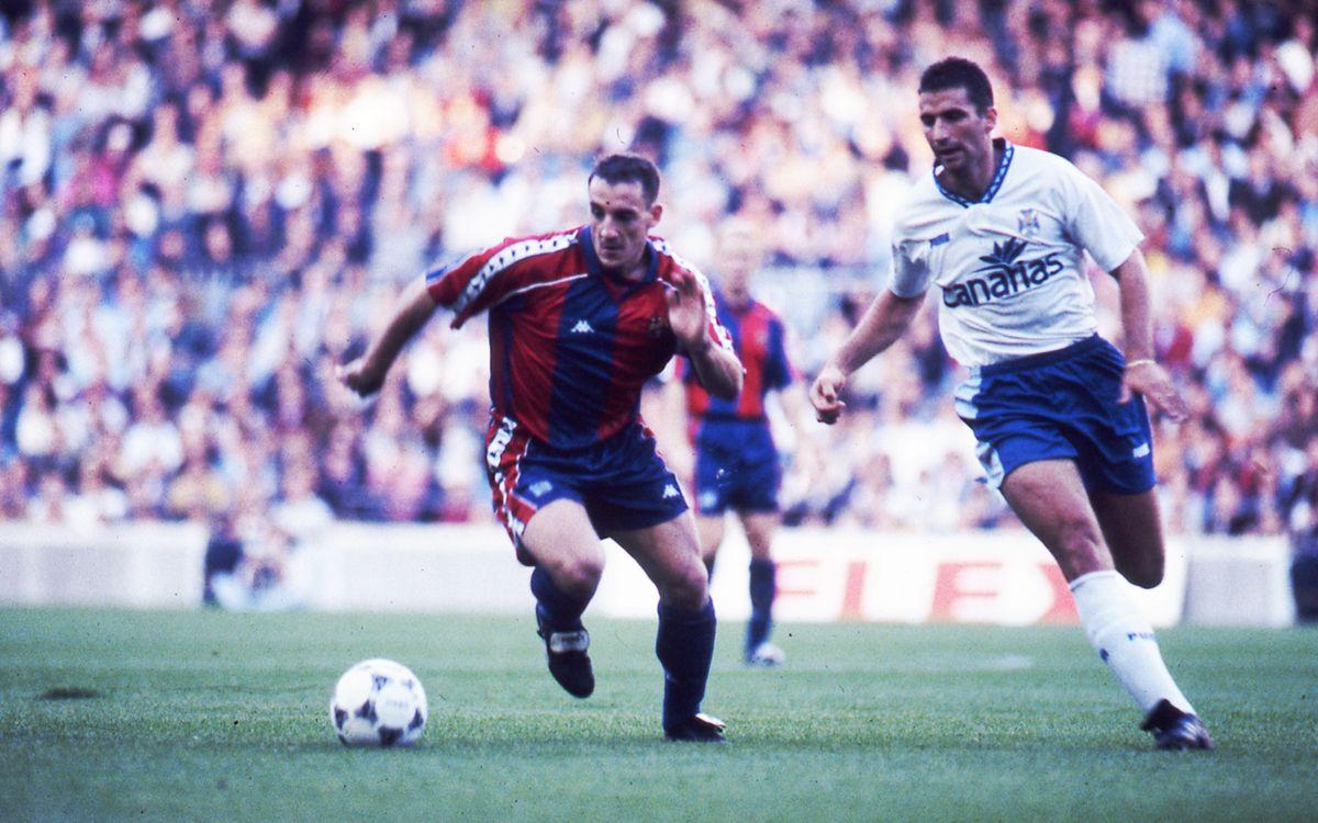 El ex azulgrana vistió la camiseta del Tenerife durante 19 partidos en la temporada 1989/90.