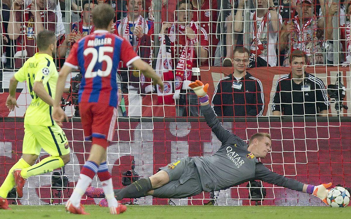 Una parada siempre recordada en la vuelta de semifinales de la Champions 2014/15 ante el Bayern de Múnich