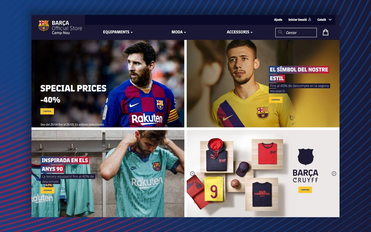 FC Barcelona launches its own official e-commerce channel for the sale of products from the Barça Store at Camp Nou