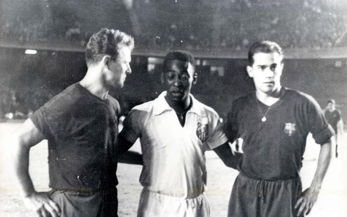Kubala chụp ảnh cùng 2 danh thủ, Pelé và Luis Suárez