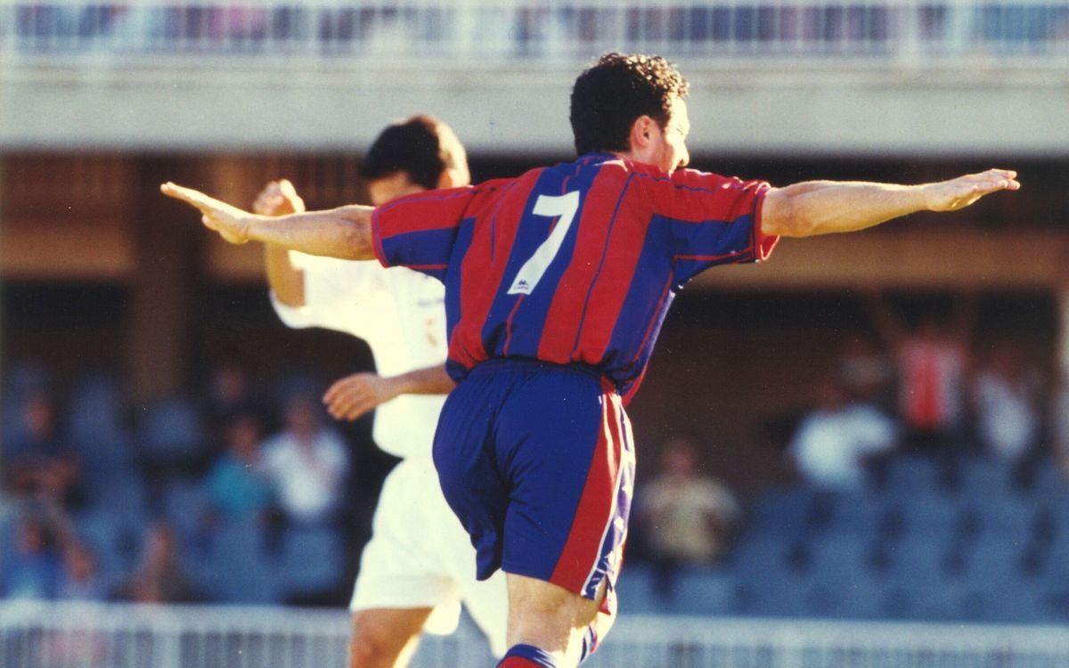 Ismael celebra un dels cinc gols marcats al Reial Madrid B al Miniestadi   SPORT