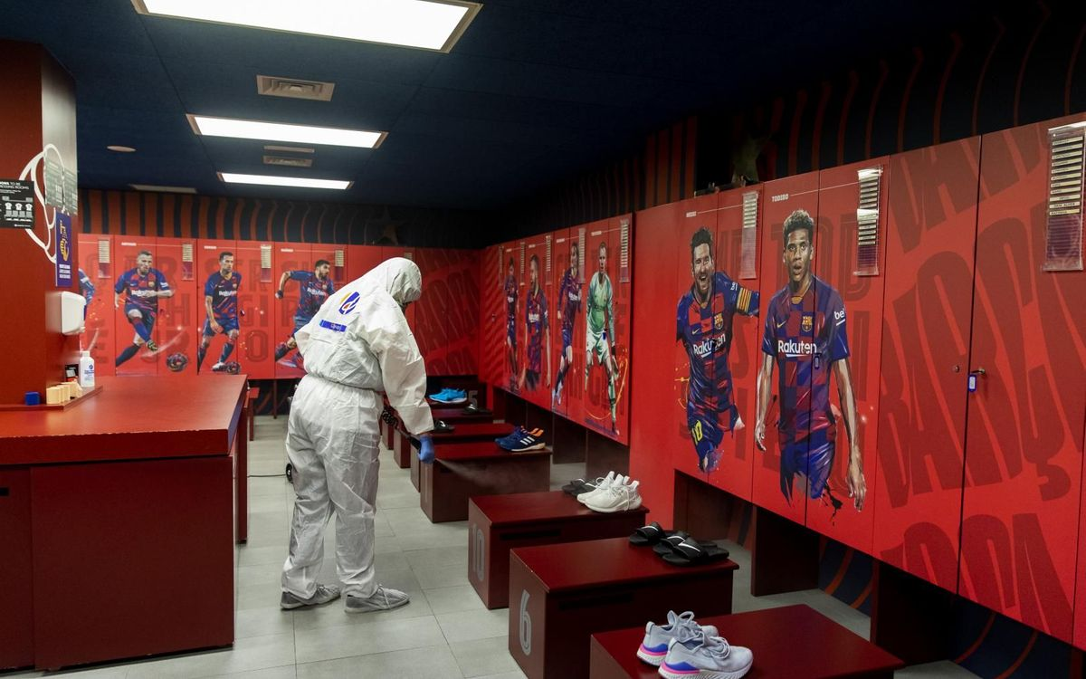 Camp Nou disinfected ready for players' arrival
