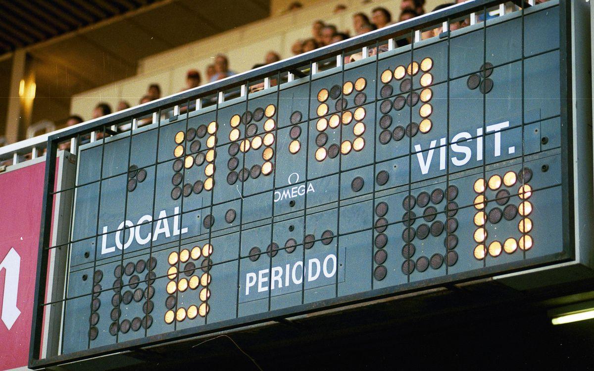 Imatge del marcador del Miniestadi que reflecteix el 5-0 històric al Real Madrid Castilla en el penúltim partit de la promoció d'Ascens a la Segona A | Mundo Deportivo