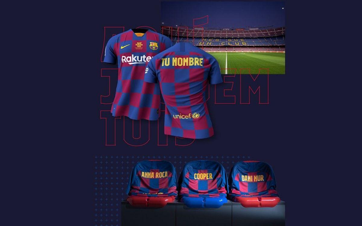 Los culers de todo el mundo podrán dar apoyo a los jugadores en el partido contra el Atlético con camisetas personalizadas