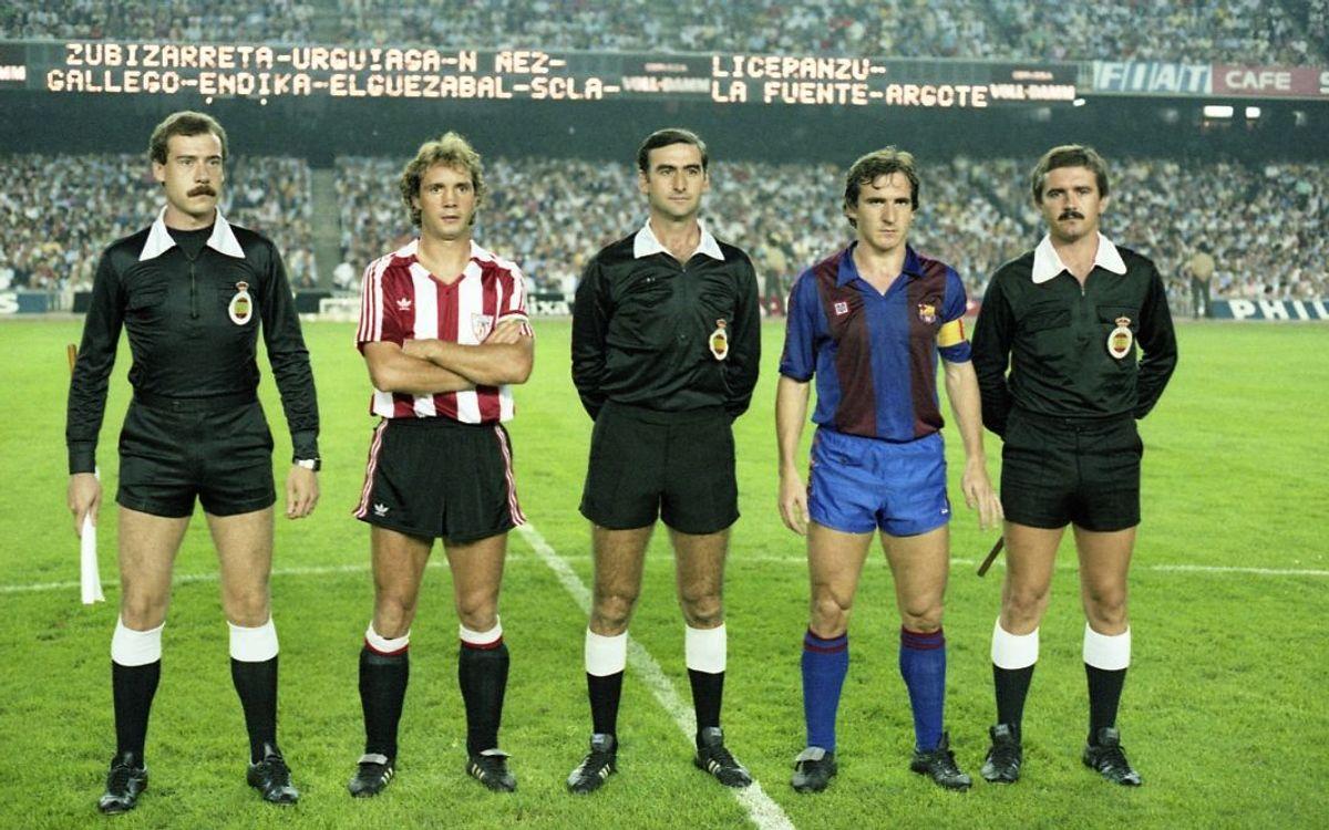 Barça y Athletic, antes del partido correspondiente a la temporada 1983/84.
