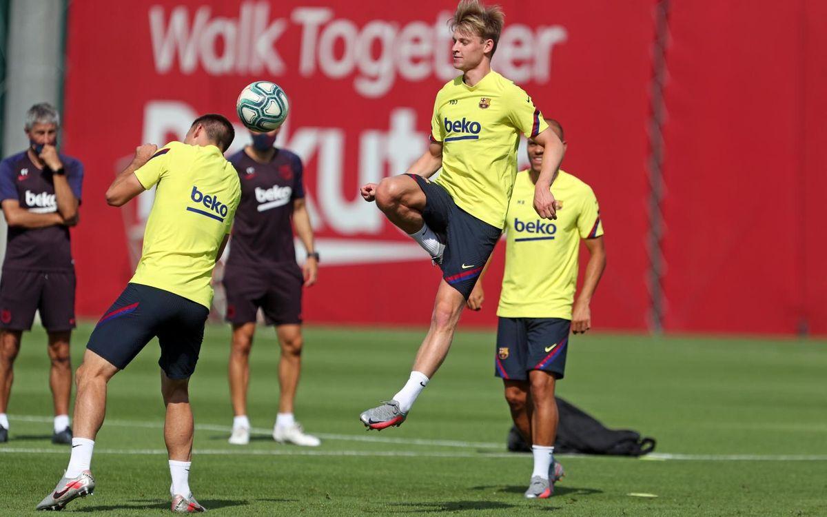 Frenkie de Jong, en la sesión de este martes del Barcelona (Foto: FCB).