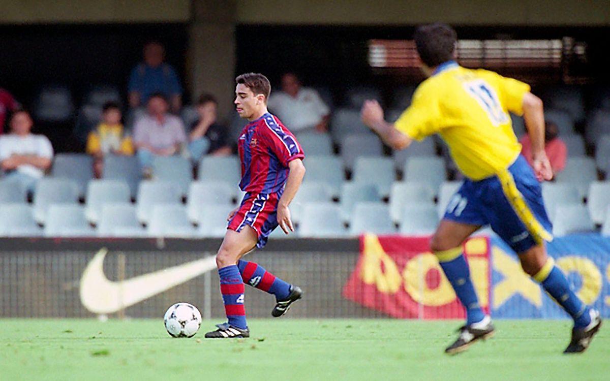 Xavi Hernández, en un partit de la lligueta de promoció d'ascens de la temporada 1997-1998