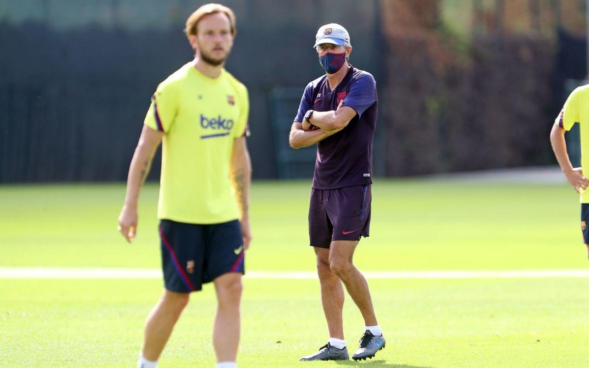 Quique Setién, en la sesión del Barcelona (Foto: FCB).