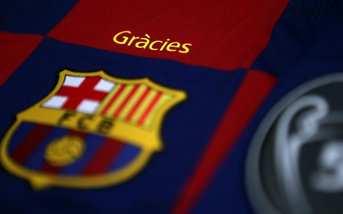 'Gràcies', el mensaje que lucirá la camiseta del Barça