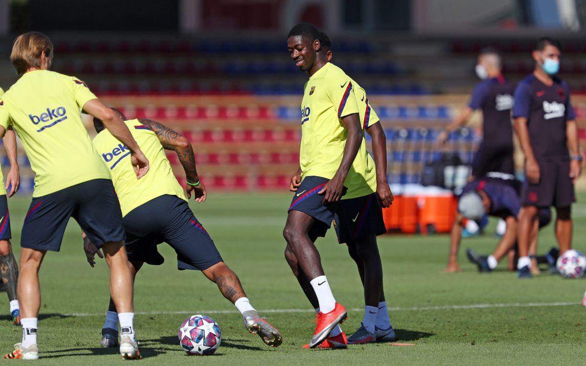 O. Dembélé y R. Araujo entrenan con el grupo