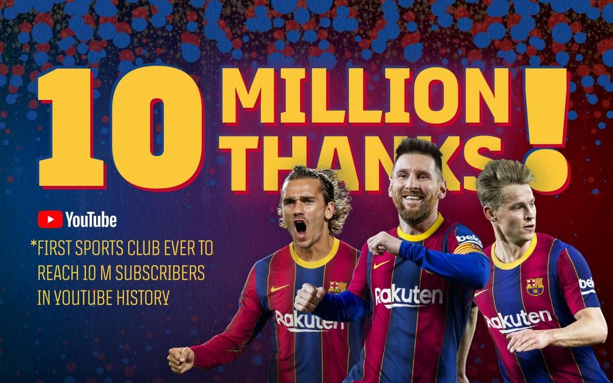 FC Barcelona, first sports club in the world to have over 10 million subscribers on YouTube