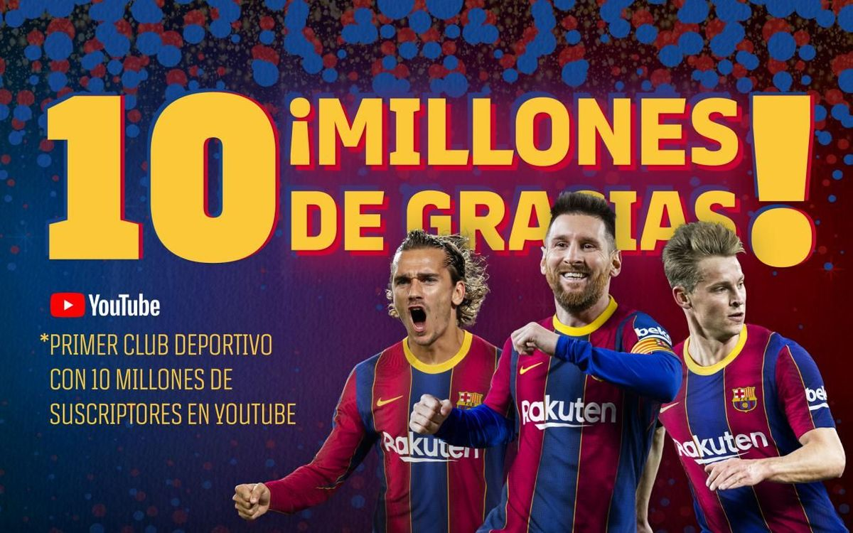 El FC Barcelona, primer club deportivo del mundo que supera los 10 millones de suscriptores en Youtube