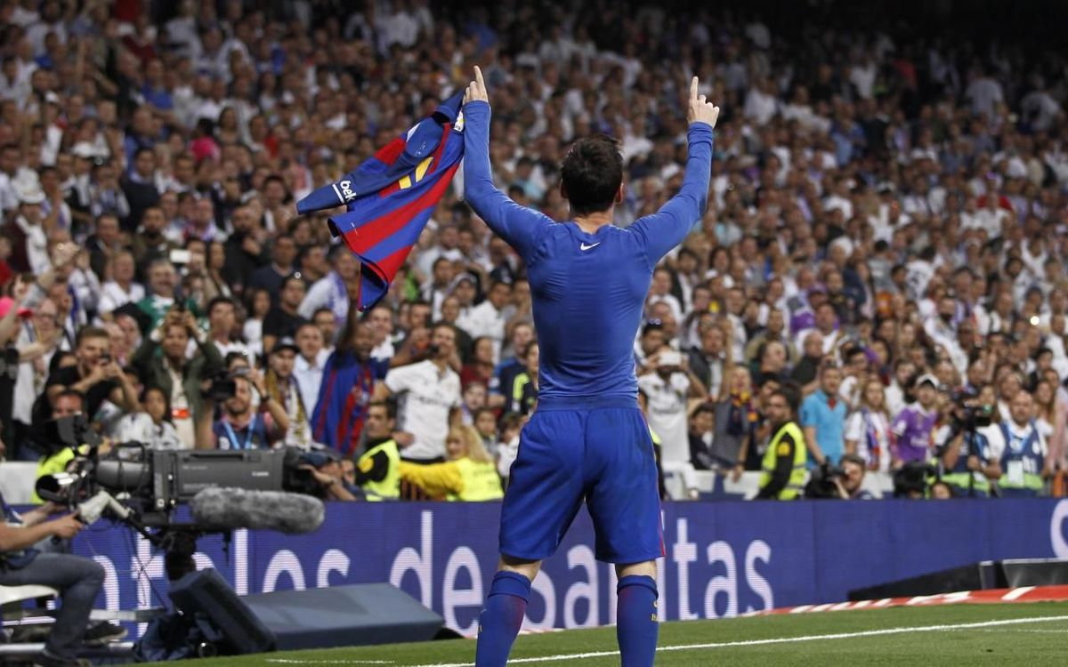 Messi celebrating a goal at the Santiago Bernabéu.