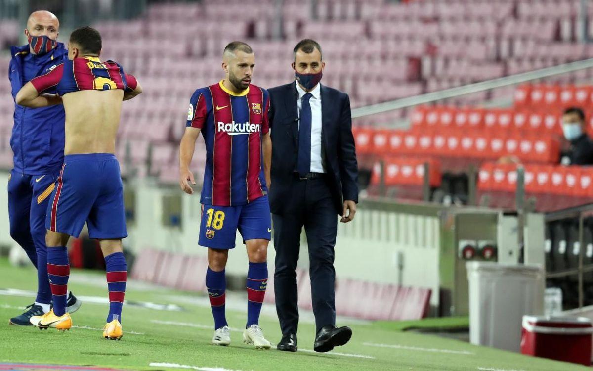 Jordi Alba, con una lesión muscular en los isquiotibiales del muslo derecho