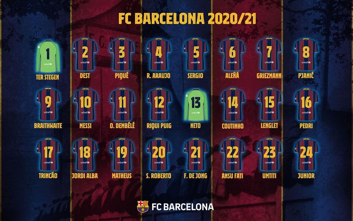 背番号 20-21 FC バルセロナ