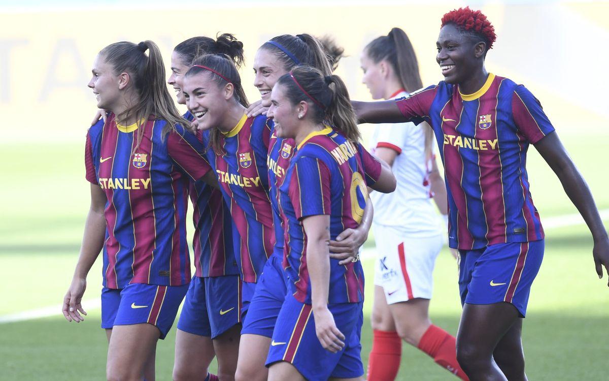 Barça Femenino - Sevilla: Clasificadas para la final de Copa (6-0)