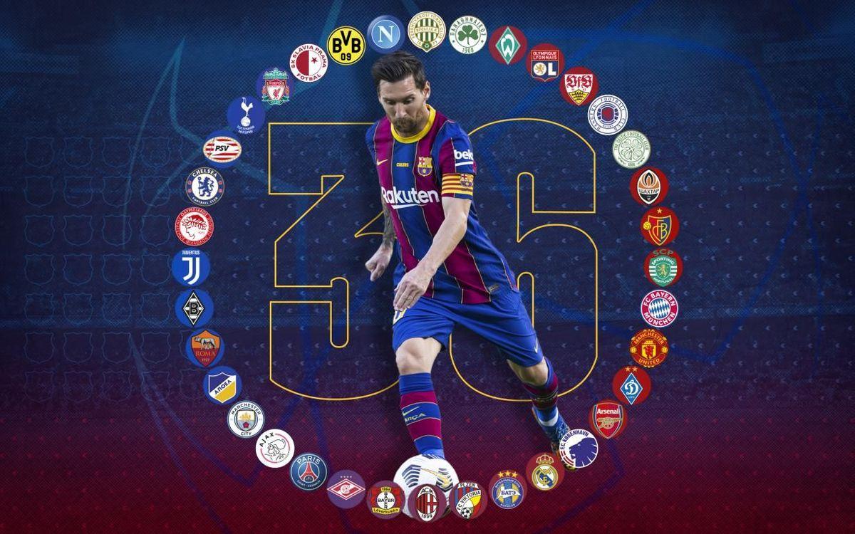 Messi amplía el récord: goles contra 36 equipos diferentes en la Champions