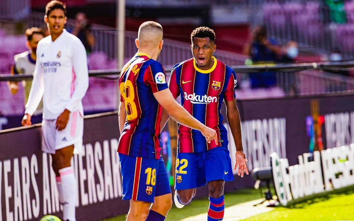 Ansu Fati, autor del gol 400 contra el Real Madrid