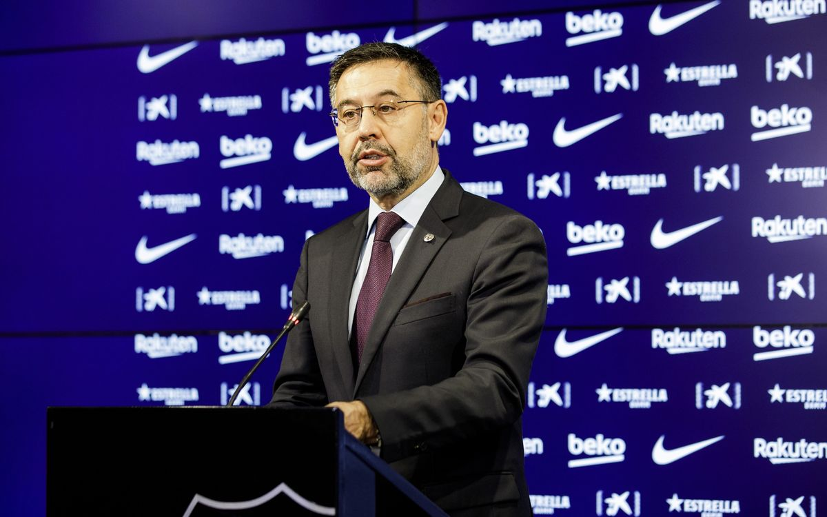 Josep Maria Bartomeu announces the resignation of the Board of Directors