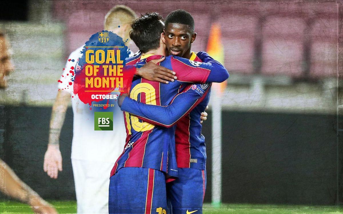 Dembélé's goal against Juventus, winner of the 'Goal of the Month' in October