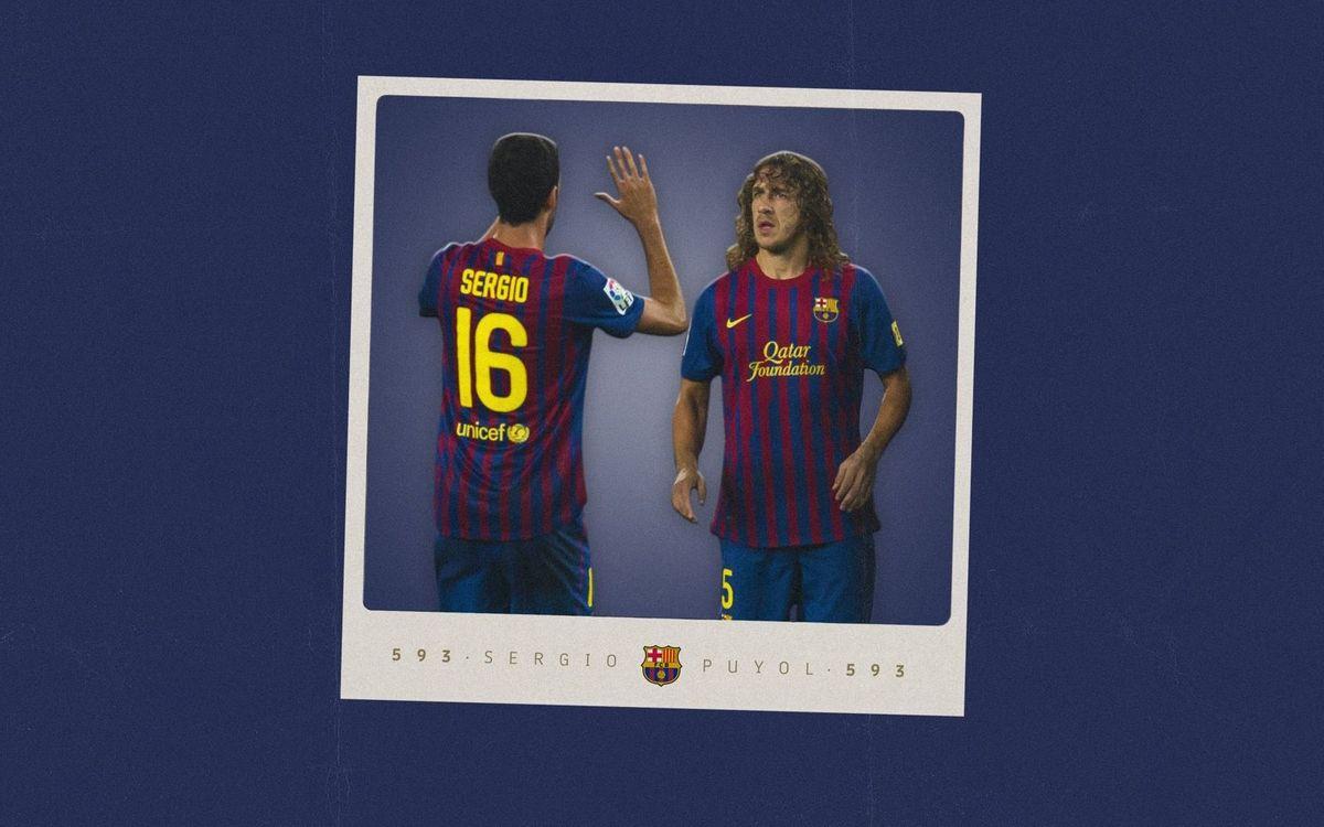 Sergio iguala los 593 partidos de Puyol con el Barça