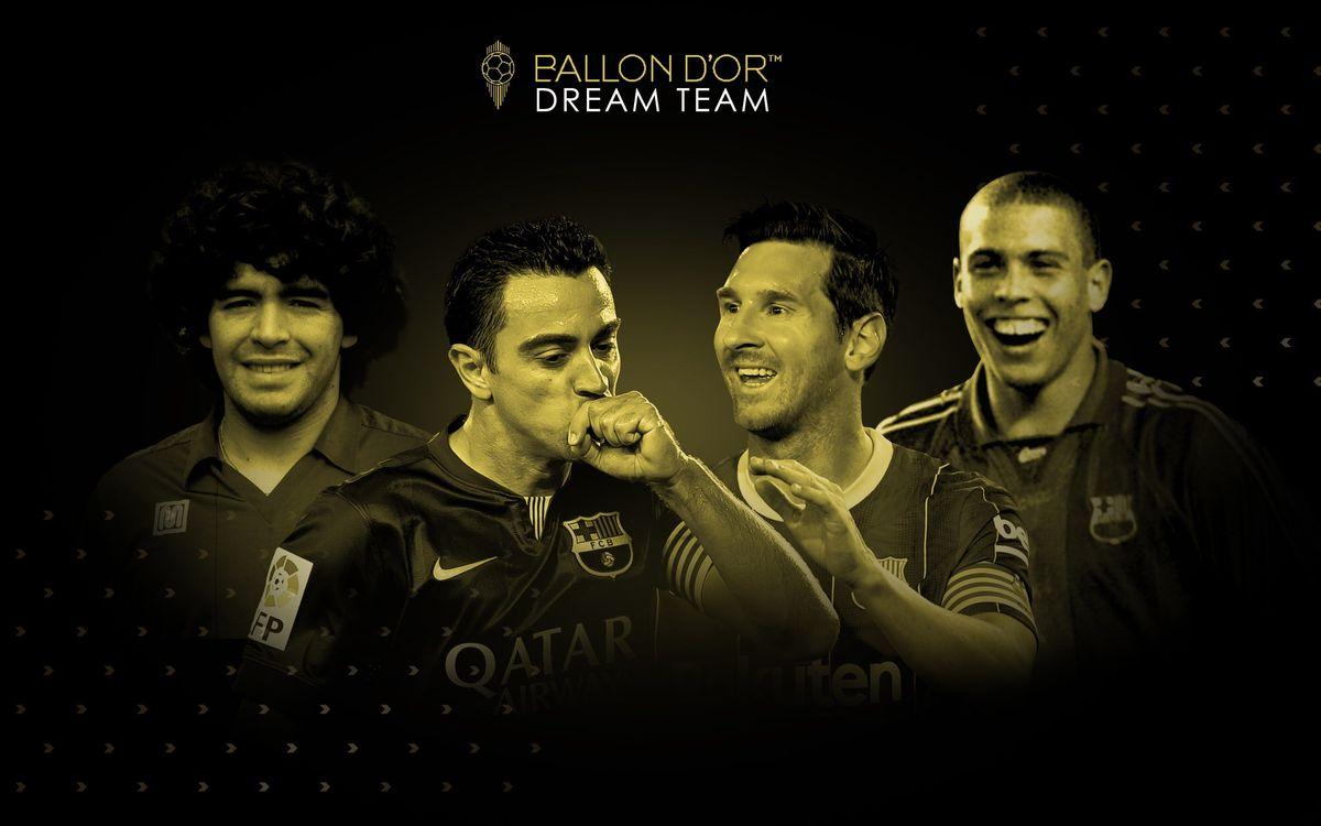 Xavi, Maradona, Messi y Ronaldo, en el 'Dream Team Ballon d'Or'