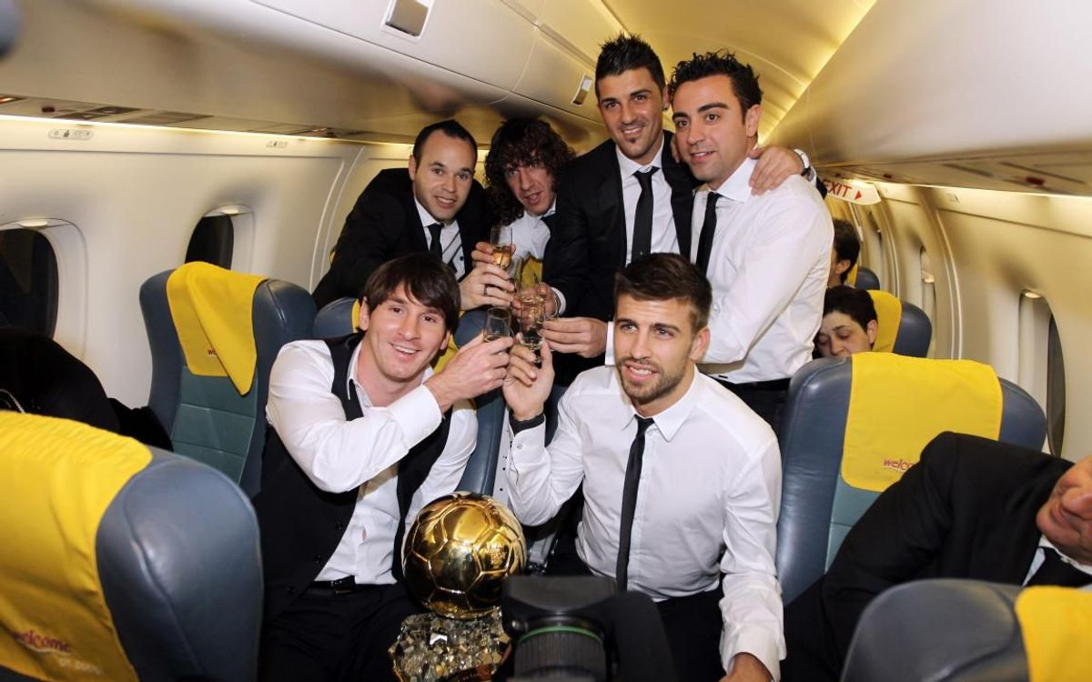 The blaugrana party back in Barcelona after the gala.