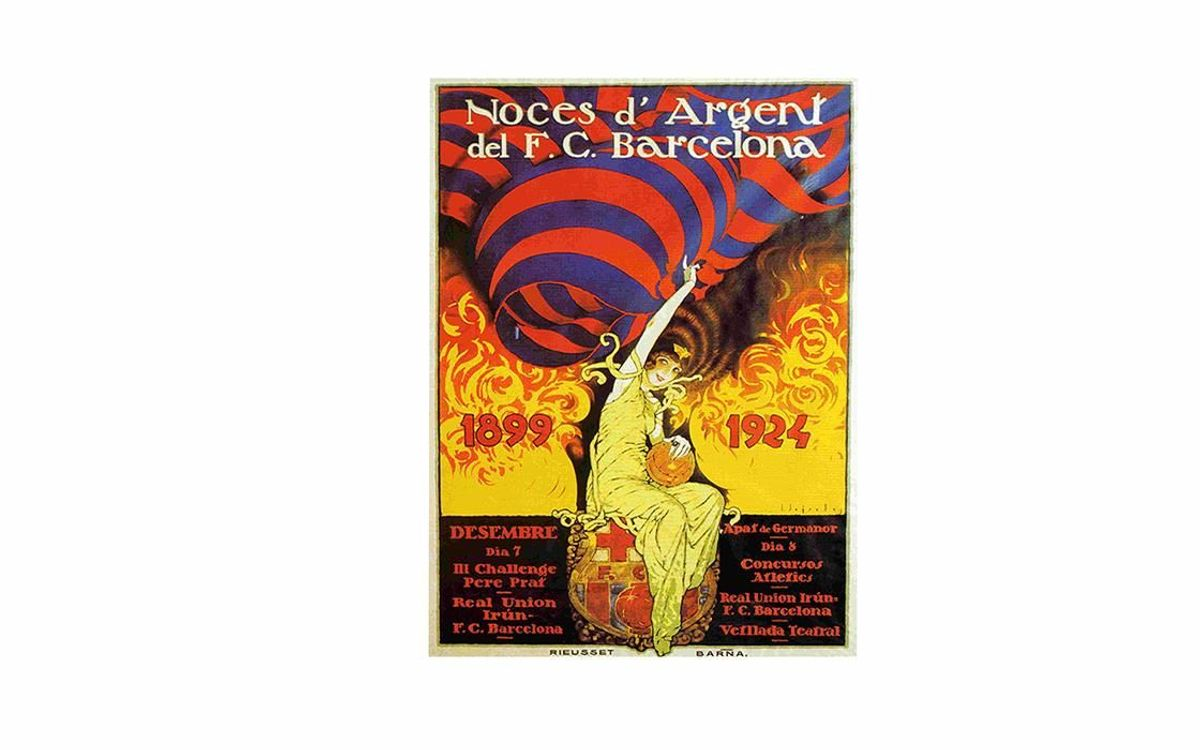 Poster commemorating the 25th anniversary of FC Barcelona.