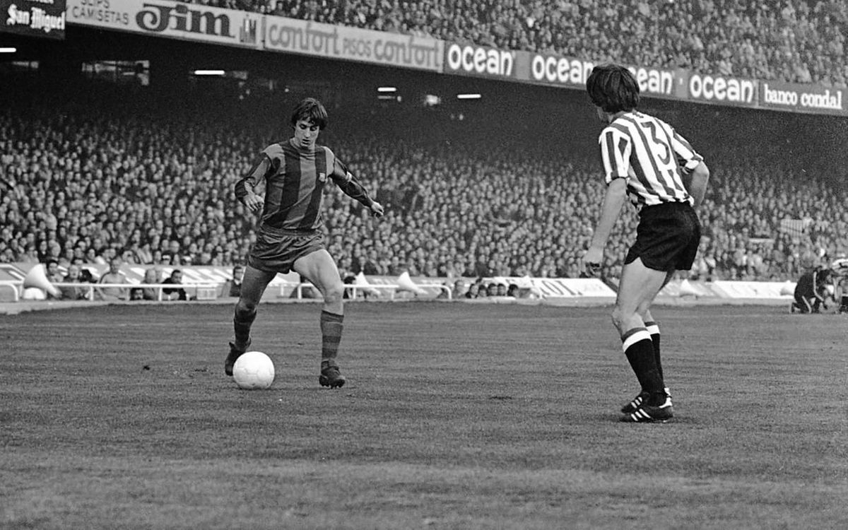 The day Johan Cruyff wore the Barça captain's armband for the first time.