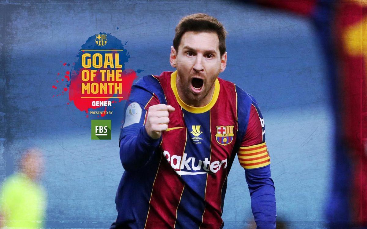 El gol de falta de Messi contra l'Athletic Club, guanyador del 'Goal of the Month' del gener