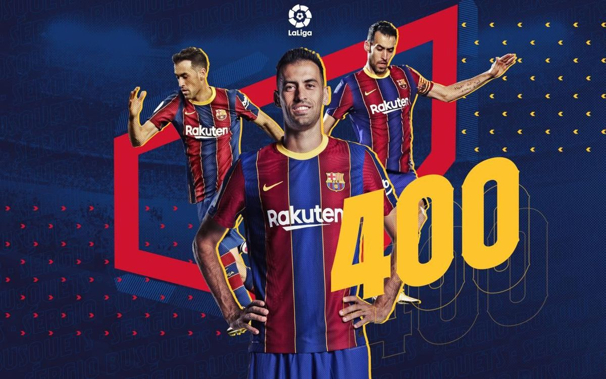 Sergio Busquets plays his 400th league match