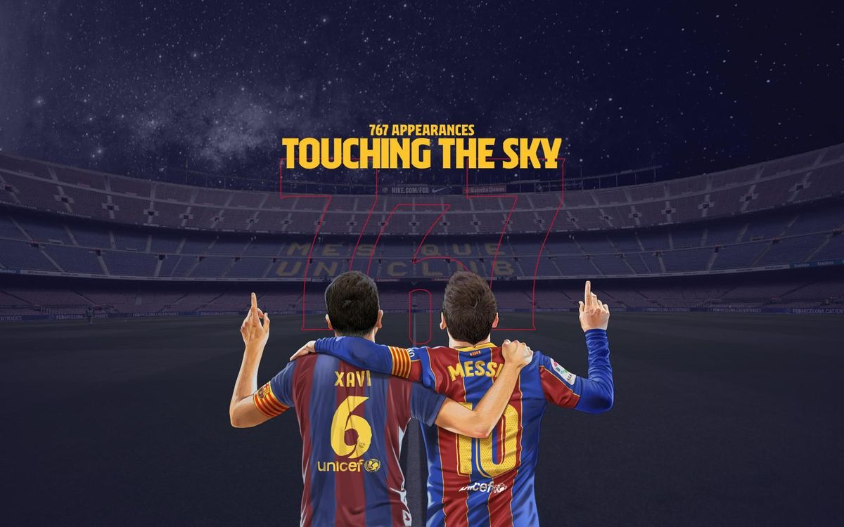 Team mates and former team mates congratulate Leo Messi on the record