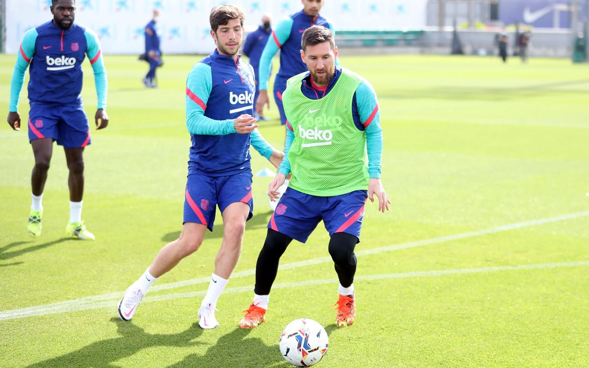 Training session together with Barça B