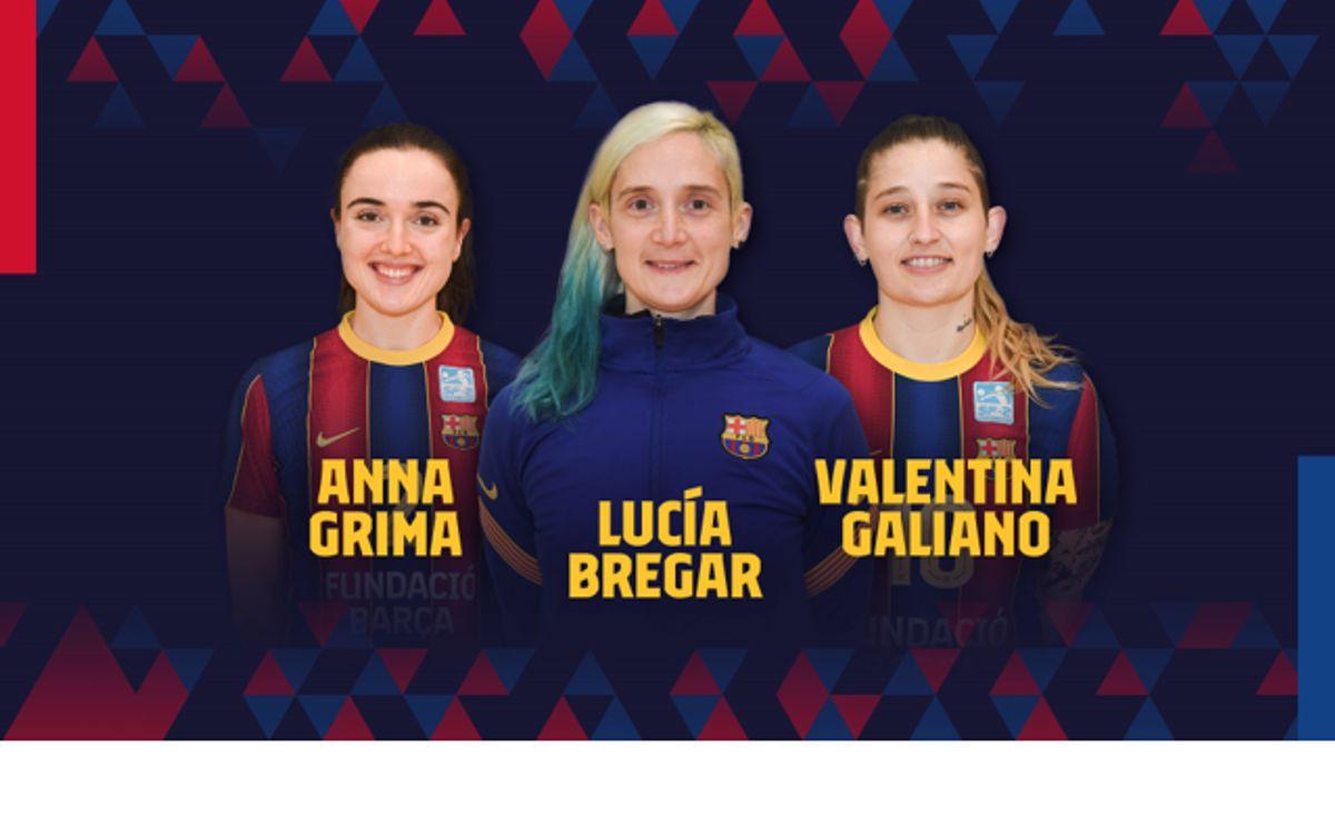 Renovació de l'entrenadora Lucía Bregar i les jugadores Grima i Galiano