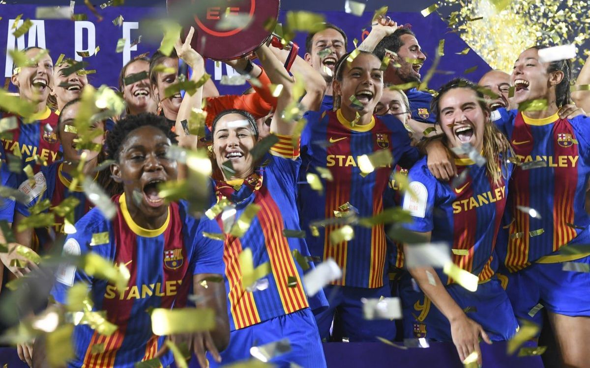 Women's football team win Barça's 18th treble