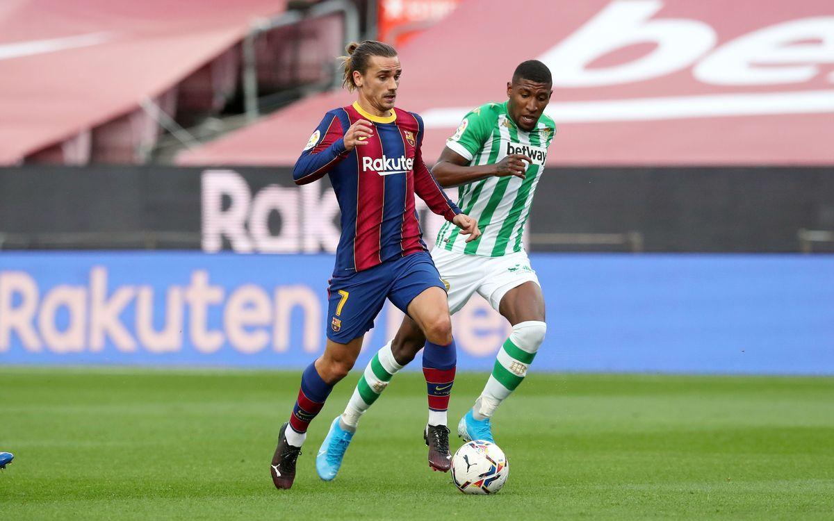 Emerson Royal y Antoine Griezmann, en un partido en el Camp Nou