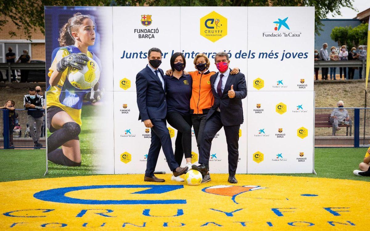 Joan Laporta inaugura un nuevo espacio deportivo en Vilanova del Camí