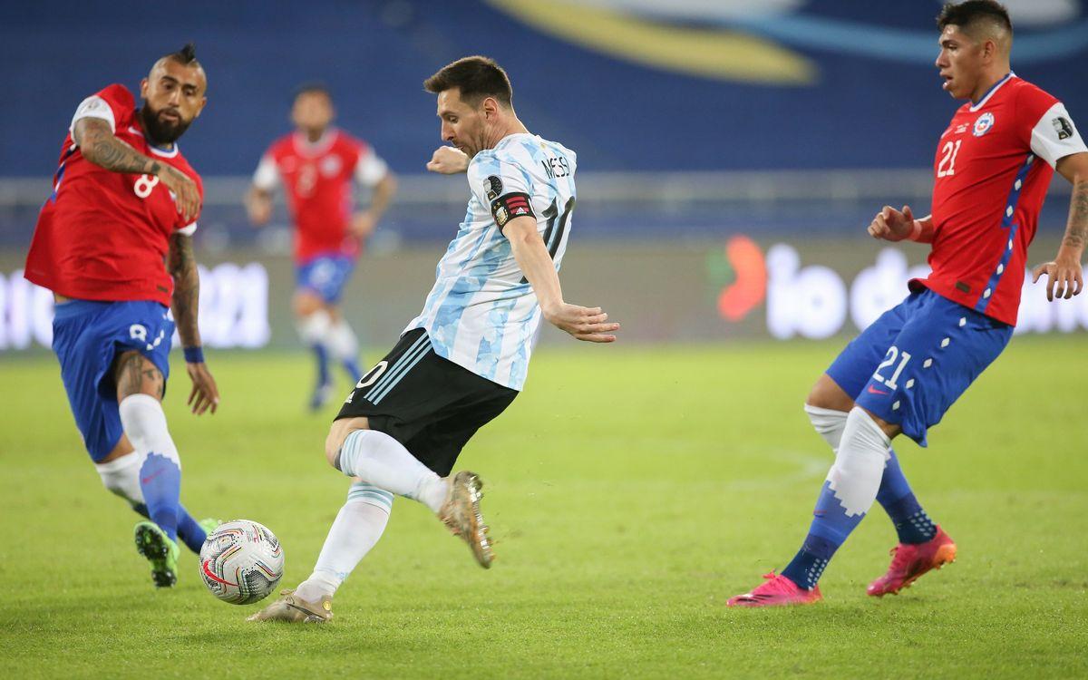 Messi marca en el empate de Argentina contra Chile