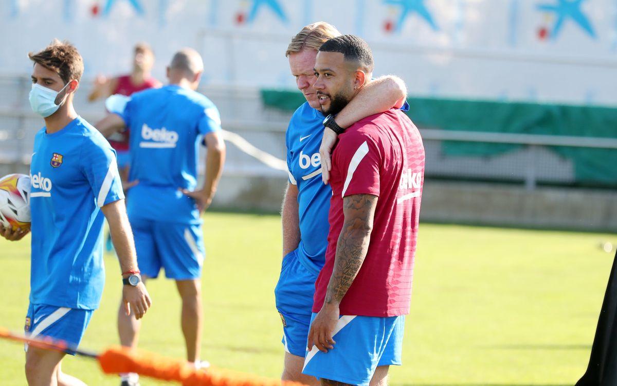 1er entraînement de Depay avec le Barça