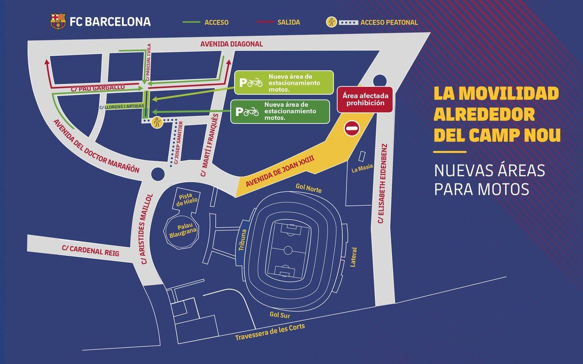 Nuevas zonas de aparcamiento para motos en los alrededores del Camp Nou
