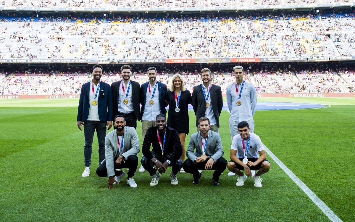 El Camp Nou homenatja els medallistes olímpics del Barça