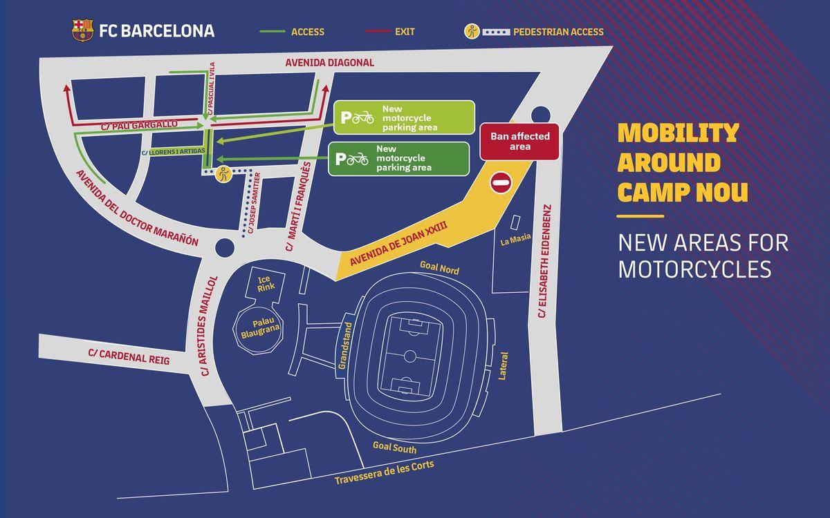 New motorbike parking zones outside Camp Nou