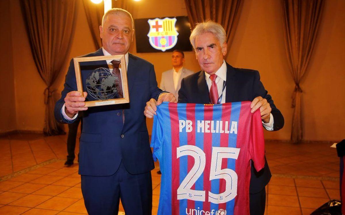 Antonio Escudero celebra los 25 años de barcelonismo de la PB Melilla