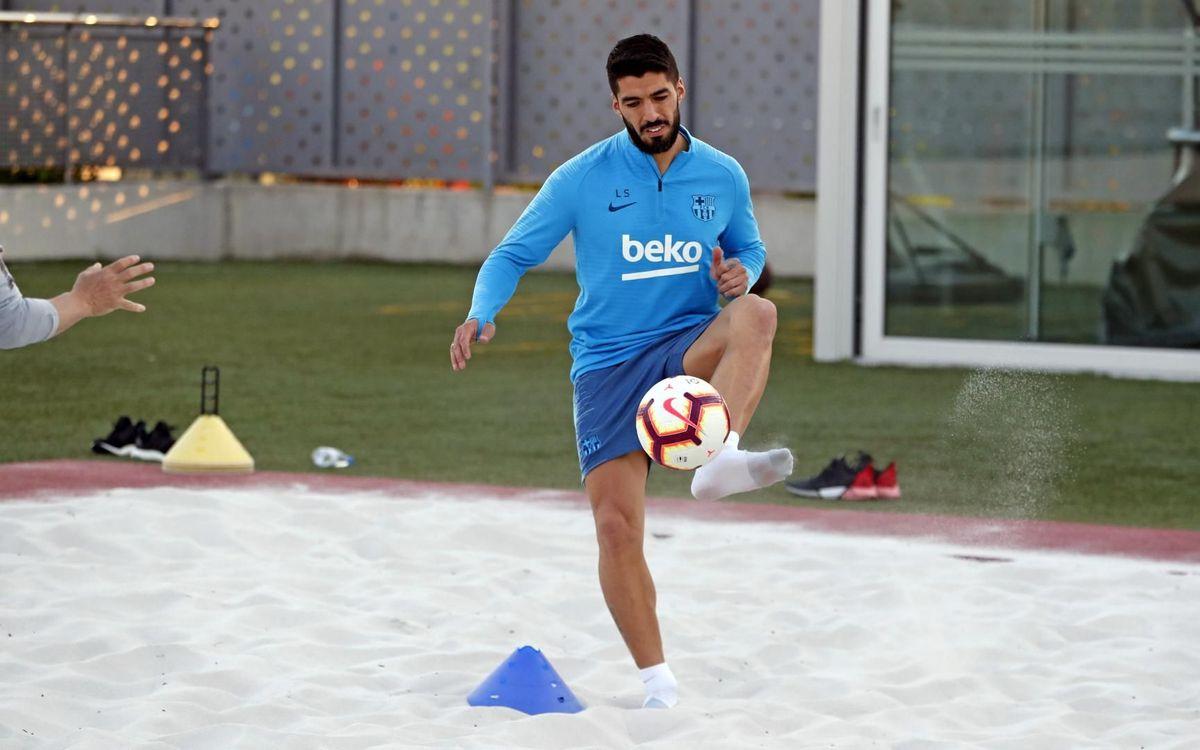 Suárez, durante la última sesión (Foto: FCB).