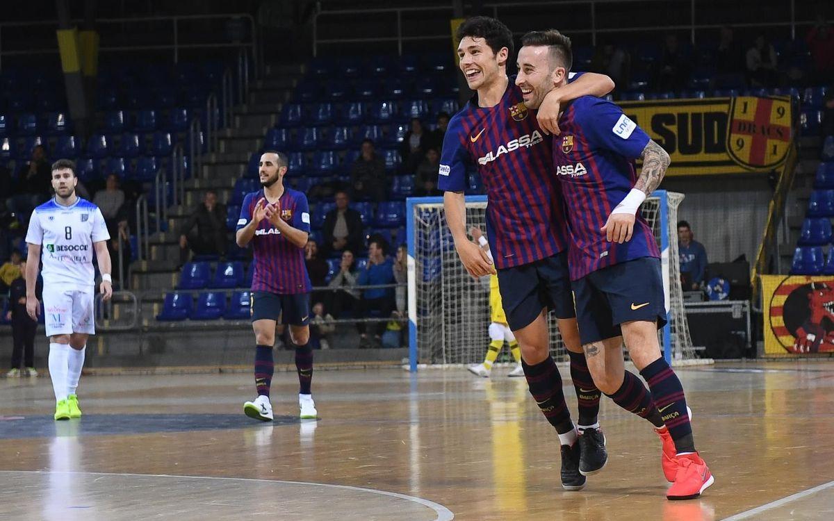 Barça Lassa - Antequera: El líder no se deja sorprender (8-1)